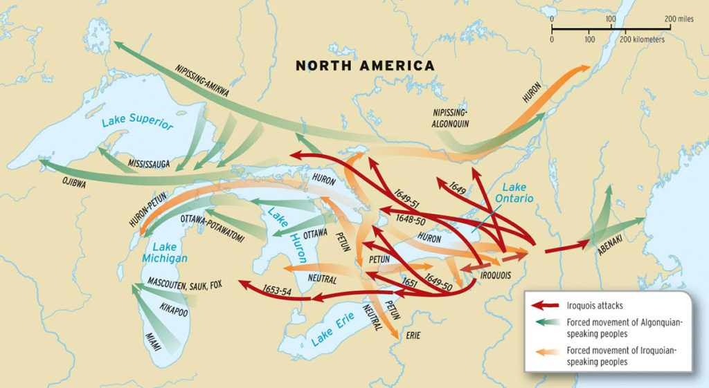 1640-1701 – Beaver Wars (French and Iroquois Wars) Force Relocation to Door County, Wisconsin