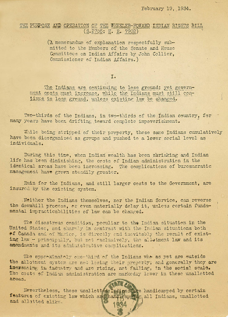 1934 – Indian Reorganization Act Signed   NHBP Denied Federal Reaffirmation